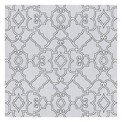 Pale Gray Scroll Trellis Cotton Fabric - Chic Morrocan style trellis with intricate outlined scrolls of white on ice gray cotton.Recover your chair. Upholster a wall. Create a framed piece of art. Sew your own home accent. Whatever your decorating project, Loom's gorgeous, designer fabrics by the yard are up to the challenge!