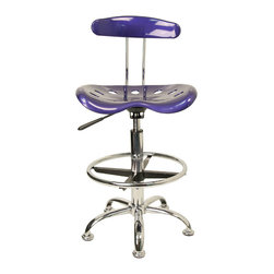 """Flash Furniture - Vibrant Deep Blue and Chrome Drafting Stool with Tractor Seat - Quality chair at an amazingly affordable price! This sleek, modern stool conforms to several areas in the home or office. The molded tractor seat offers great comfort. The height adjustable capability of this stool allows you to use the stool at the dining table and bar table and anywhere in between.; Tractor Stool; Deep Blue Molded """"Tractor"""" Seat; High Density Polymer Construction; 10"""" Height Range Adjustment; Pneumatic Seat Height Adjustment; Height Adjustable Chrome Foot Ring; Chrome Frame and Base; Black Plastic Floor Glides; Assembly Required: Yes; Country of Origin: China; Warranty: 2 Years; Weight: 19 lbs; Dimensions: 32 - 40.5""""H x 17""""W x 16.5""""D"""