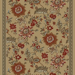 Ottomanson - Beige Contemporary Floral Design Rug - Royal Collection offers a wide variety of machine made modern and oriental design area rugs with durable, stain-resistant pile in trendy colors.