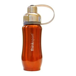 Thinksport Stainless Steel Sports Bottle - Orange - 12 Oz - Built to fit your active lifestyle, thinksport Stainless Steel Insulated Sports Bottles provide an alternative to bottles containing Bisphenol-A (BPA). thinksport Stainless Steel Insulated Sports Bottles are built tough and super insulated to keep the contents cold or hot for hours. This insulated bottle is double-walled and vacuum-sealed stainless steel construction. When you fill your insulated bottle you won't feel the temperature of the contents; now you won't ever have to grab a blazing hot bottle or a freezing cold one either. You can fill our bottle with ice, your favorite drink and enjoy a cold drink without the bottle sweating all over your gym bag, backpack, or desk. thinksport bottles elegant design features a wide mouth opening (for ease of filling and cleaning) and a smaller polypropylene spout (for convenient drinking). thinksport bottles also feature a removable interior mesh filter that keeps ice from blocking the drinking spout and allows users to conveniently brew loose leaf tea on the go or make campfire coffee. The thinksport insulated bottle is a high-quality insulated sport bottle for about the same price as the other guys  basic single-walled bottles. thinksport bottles are made of 18/8 medical-grade 304 stainless steel and do not have any type of potential harmful liner. thinksport products address the growing concern of toxic chemicals leaching from consumer products. All thinksport products are free of bisphenol-A (BPA), lead, PVC, phthalates, melamine, nitrosamines, and biologically toxic chemicals. How do you care for my thinksport bottle? thinksport recommends hand washing your bottles, however bottles are dishwasher safe, be sure to remove the cap and strap first. thinksport Stainless Steel Insulated Sports Bottles are great for the beach, tailgating, bicycling, camping, gym, and for keeping your drinks hot or cold at the office. Size: 350ml (12oz), 8  x 2.5  wide, Color: Orang