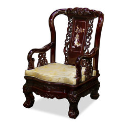 China Furniture and Arts - Rosewood Master Arm Chair - Known as the Master's chair for its sturdiness, our rosewood armchair is built with elegant curvature and hand-carved decoration accentuated with mother-of-pearl floral motif. True to its name, this armchair does not only look grand but also comfortable to sit on. Hand applied dark cherry finish.