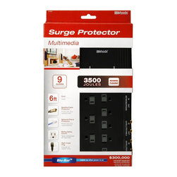 Woods - Woods 41653-88-11 9 Outlet 3500 Joules Surge Protector with 6' Cord, Black - Woods 41653-88-11 9 Outlet 3500 Joules Surge Protector with 6' Cord, Black