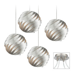 """Possini Euro Design - Contemporary Silver Waves 4-Light Brushed Nickel Multi Light Pendant - Our multi swag chandeliers let you add designer lighting to any room. The special swag canopy installs into any ceiling junction box just like a normal ceiling light or chandelier. Install standoffs in the ceiling and swag the cord lines to the canopy; adjust the hanging length as desired. With the hanging options you can get the exact look and light placement you need. This version features a brushed nickel finish 4 swag canopy. Its paired with modern Silver Wave pendants. A design from the Possini Euro Design lighting collection.Each pendant takes one 40 watt bulb (not included).Each pendant is 13 3/4"""" wide. 12-foot cord on each. Canopy is 9"""" wide.  Multi swag chandelier.  With special canopy adaptor.  Installs into any ceiling junction box.  Includes ceiling anchors.  With four standoff ceiling mounts.  Brushed nickel finish canopy.  With 4 Silver Waves pendants.  10-foot cord on each.  A large chandelier for dining rooms and more.  Each pendant takes one 40 watt bulb (not included).  Each pendant is 13 3/4"""" wide.  Canopy is 6"""" wide."""