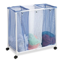 3 Bag Mesh Laundry Sorter - Honey-Can-Do HMP-01629 3-Bag Mesh Rolling Hamper, White / Blue. An economical laundry solution, this rolling hamper has three full-sized compartments to make sorting laundry a breeze. Sturdy, washable mesh bags let clothing breathe and helps keep mildew at bay. Bags are removable and feature a drawstring closure that prevents spilling and doubles as a carrying strap making them quick and easy to transport. Smooth rolling casters on a PVC frame make this sorter light and easy to maneuver. Whether you're going all the way to the laundromat or just down the hall, this mesh laundry sorter will get you there in comfort and style.