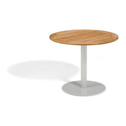 Oxford Garden - Travira 36 Bistro Table, Teak - The Travira 36 Bistro is a stylish table that features a classic, yet modern round top and base. The table top is available in Teak, Tekwood (Natural or Vintage) or Alstone, complementing the bold gray of the powder-coated aluminum. The Travira bistro is perfect for a  balcony, cafe or other outdoor dining environment. Teak: Table top made from teak, a tropical hardwood known for its superior qualities for outdoor furniture, including resistance to weathering, rot and infestation.