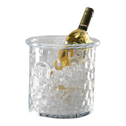 Honeycomb Ice Bucket/Cooler with Rolled Edge - Chill a drink to perfection while maintaining an elegant look with the Honeycomb Ice Bucket and Cooler - a sleek, perfectly clear vessel which looks substantial and right in a transitional dining room but does not remove the wonderful possibilities that come from pairing this handcrafted cylindrical wine bucket with other old-world accents that exhibit a craftsman's precise touch. A soft texture and rolled lip are among the beautiful details in this hand-blown glassware piece.