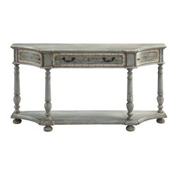 Coast To Coast - Delos Cream and Blue Grey Distressed Console Table with Hand-Pa - Delos Collection Console Table