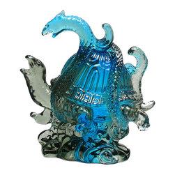 "Golden Lotus - Chinese Liuli Crystal Glass Pate-de-verre Turtle Celestial Animals Figure - Dimensions:   4""x  3""x  h4"""