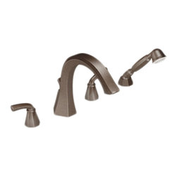 """Moen - Moen TS244ORB Oil Rubbed Bronze Roman Tub Trim/Handheld Shower 8""""-16"""" 2-Handles - Moen TS244ORB is part of the Felicity bath collection. Moen TS244ORB has an Oil Rubbed Bronze finish. Moen TS244ORB is a Roman Tub Trim with hand shower 4-hole 8"""" - 16"""" installation. Roman Tub faucet is a deck-mount with 8 7/8"""" long and a 9 3/8"""" high spout and a full 4 13/16"""" from deck to aerator. Moen TS244ORB Roman Tub Trim with hand shower fits the MPact common valve system and requires Moen's 9992 or 9993 series valve to make this faucet complete. Valve sold separately. Moen TS244ORB Roman Tub Faucet trim includes a single-function 2.5 GPM handheld shower. Moen TS244ORB is approved by ADA. Moen TS244ORB is part of the Felicity bath collection with sweeping geometric forms that makes a bold statement and boasts a modern feel. Oil Rubbed Bronze is an exclusive finish from Moen and provides style and durability. Moen TS244ORB metal lever handle meets all requirements of ADA CSA B125.1, ASME A112.18.1. Limited Lifetime Warranty."""