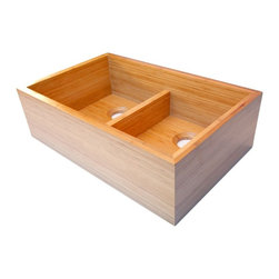 "Alfi brand - 33"" Double Bowl Bamboo Kitchen Farm Sink - Solid bamboo construction. Heavy duty side walls over an inch thick. Completely waterproof and non-porous. . 32.63 in. L x 21 in. D x 9.875 in. H (55 lbs.)Introducing the first solid bamboo kitchen farm sink. The perfect match for any eco-friendly kitchen design. Allowing you to extend your ultra-modern themed kitchen to your sink and keep everything green and sustainable. Bamboo has become a standard in Eco-Friendly flooring and cabinets, thanks to breakthrough technologies it is now available as your new kitchen sink. Daily cleaning may be done with a mild dish washing soap after every use, rinse and wipe the sink dry with a clean, soft cloth to eliminate any water spots or soap film build-ups. Avoid spilling harsh chemicals like nail polish remover and other solvents. Do not use any abrasive cleaning agents or scrub pads, such as steel wool. Do not use bleach, commercial alkalies, such as ammonia or caustic solutions."