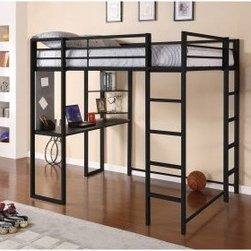 Dorel Home Abode Full Loft Bed - Black - A great way to save space and give your child a place to study and do homework, the Abode Full Loft Bed - Black is a strong and durable loft bed made out of durable metal and finished in classic black. Designed with black shelves and a desk, your child will have more than enough space to store their books, laptop, and more. Made to meet ASTM and CPC safety specifications, this loft bed has two built-in ladders and a guardrail for added safety. A great size for your teen, this loft bed accommodates a full-sized mattress so your teen will have more than enough space for sleeping as well as working. Additional Features No box spring required Includes desk and shelves for versatility Guardrails for added safely Designed for smaller spaces Some assembly required Durable construction designed to last About Dorel IndustriesFounded in 1962, Dorel Industries is a family of over 26 brands, including bicycle brands Schwinn and Mongoose, baby lines Safety 1st and Quinny, as well as home furnishing brands Ameriwood and Altra Furniture. Their home furnishing division specializes in ready-to-assemble pieces, including futons, microwave stands, ladders, and more. Employing over 4,500 people in 17 countries and over four continents, Dorel is renowned for their product diversity and exceptionally strong commitment to quality.