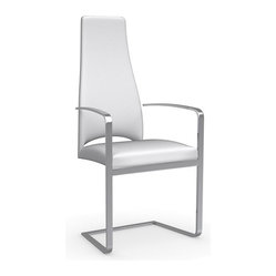 Calligaris - Juliet Dining Arm Chair, Optic White - Thin is in. Upholstered in luxurious leather and beautifully balanced on a cantilevered chrome base, this elegant armchair gives you big style in a svelte, sophisticated package.