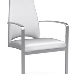Calligaris - Juliet Dining Arm Chair, Optic White, Set of 2 - Thin is in. Upholstered in luxurious leather and beautifully balanced on a cantilevered chrome base, this elegant armchair gives you big style in a svelte, sophisticated package.