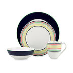 kate spade new york - kate spade new york Hopscotch Drive 4-piece Place Set, Navy - Our Hopscotch Drive Navy 4-piece Place Set by kate spade new york has navy-colored vibrant pattern and rows of multi-colored graphic dots. Crafted in chic white porcelain, this lively place setting turns your table into a stylish destination. Perfect for both formal and casual meals.