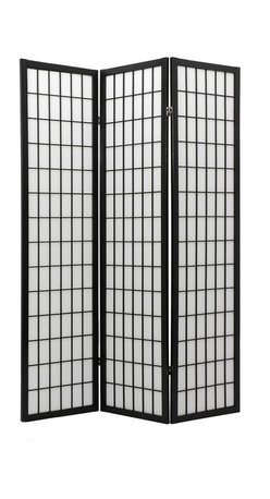 Oriental Unlimited - 6 ft. Tall Double Sided Window Pane Shoji Screen (3 Panels / Natural) - Finish: 3 Panels / NaturalSeparate spaces within a room without taking away from the room's open feeling. The lattice design on this privacy screen provides visual interest and focus while the rice paper shade offers privacy to both sides. Diffused light can still pass through, leaving your room bright and open, even when the individual spaces are effectively separate. Shoji screen doubles as a decorative accent. Screens may vary slightly in color. Double-sided shojis have lattice on both front and back. Slightly thicker than single sided room dividers. They're perfect for display where both sides of the screen will be visible. Not widely available in retail stores. Shade is strong. Fiber reinforced pressed pulp rice paper allows diffused light, yet provides complete privacy. Crafted from durable and lightweight Scandinavian Spruce. Panels are constructed using Asian style mortise and tenon joinery. Lacquered brass, 2-way hinges mean you can bend the panels in either direction. Black finish. Assembly required. Each panel: approximately 17.5 in. L x 1 in. W x 72 in. H. 3 Panel screen: approximately 53 in. wide flat, approximately 45 in. wide with panels folded to stand upright (as shown)