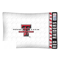 Sports Coverage - NCAA Texas Tech Red Raiders Microfiber Pillow Case - Officially licensed NCAA Texas Tech Red Raiders Microfiber coordinating pillow case to match Comforters, Pillow sham, Bedskirts and Draperies. The Pillowcase only has a white-on-white print and the officially licensed team name and logo printed in team colors. Made from 92 gsm microfiber for extra stability and soothing texture and is 100% Polyester. Wrinkle resistant and stain-resistant. Get your NCAA Pillow Case Today.   Features:  -  92 gsm Microfiber,   - 100% Polyester,    - Machine wash in cold water with light colors,    -  Use gentle cycle and no bleach,   -  Tumble-dry,   - Do not iron,   - Pillow case Standard - 21 x 30,