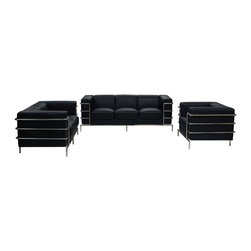 Diamond Sofa - Citadel Sofa Loveseat Chair 3PC Set by Diamond Sofa - The Citadel Collection by Diamond Sofa is a Le-Corbusier-inspired design with an exposed tubular steel wrap-around frame .  Covered with plush, deep cushioning, this contemporary collection offers a modern approach to a classic frame.  The Black Bonded Leather Sofa, Loveseat and Chair features a kiln-dried hardwood frame that is glued and reinforced, offers strength, while the zig zag spring suspension base gives you a supple seating that will hold up for years.  The elastic webbing back suspension offers additional stability while allowing for the leather to breathe and maintain its shape.  Seat cushions are comprised of a high density foam cushion wrapped in polyester fibers to ensure a comfortable, relaxing and lasting seat.  Seat cushions and back pillows are attached to the frame to eliminate shifts or gaps. The crisp and angular lines promote an aura of strikingly modern comfort.  Deep Black, Bonded leather finishes the piece, to provide and ensure years of comfort and enjoyment.  Citadel Sofa measures 79 inches wide by 33 inches deep by 28 inches high. Citadel Loveseat measures 58 inches wide by 33 inches deep by 28 inches high. Citadel Chair measures 39 inches wide by 33 inches deep by 28 inches high.