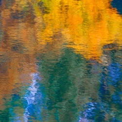 """Water Painting Fall Japanese Garden No 2"" Artwork - Fall at the Japanese Garden at the Seattle Arboretum creates beautiful and warm abstract colors.  Image is printed on 16x20 paper with a 1 border and matted at 24x32 ready for framing"