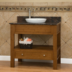 "36"" Milforde Bamboo Console Vanity for Semi-Recessed Sink - A beautiful stone top with a semi-recessed sink adorns the solid bamboo vanity. The 36"" Milforde Bamboo console vanity has ample room for storage with its open shelf and single bottom drawer."