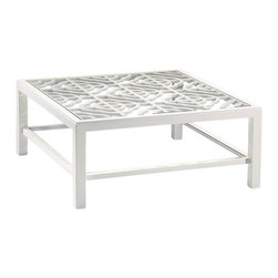 "Inviting Home - Lacquered White Coffee Table - Lacquered white coffee table with glass top and open work design 42""W x 42""D x 18""H Square wood coffee table with lacquered white finish. This coffee table has open work design glass top and clear glass shelf."