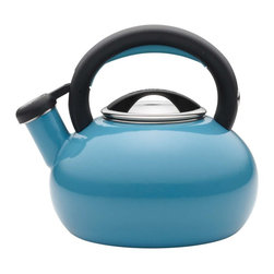 Circulon - Circulon Sunrise 2 QuartTeakettle, Turquoise - Circulon has brought more than 25 years of style and functionality to the home, and for the days first piping hot cup of coffee or tea, the Circulon 2-Quart Sunrise Teakettle delivers both and then some. The distinctive shape of this teakettle looks fantastic on the stovetop or around the kitchen, and it boils up to 8 cups of water for delicious hot cocoa with the entire family or a large pot of English breakfast tea with friends. A whistle pleasantly signals when the water is at the boil, and the handles squeeze-and-pour spout is easy to operate. This teakettles handsome blend of style and utility also complements other great Circulon cookware to add even more design to your kitchen.