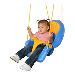 Swing-N-Slide - Swing-N-Slide Comfy-N-Secure Coaster Swing Accessory Multicolor - NE1539 - Shop for Baby Swings from Hayneedle.com! Now even tiny tots can have a blast in your backyard with the Swing-N-Slide Comfy-N-Secure Coaster Swing Accessory. This swing has an ergonomically designed seat that will hold your child securely with a padded lap belt and a snap-in T-bar for easy entry. For added longevity it is water- and mold-resistant and has a carrying capacity of up to 55 pounds. Made of durable plastic this swing complies with ASTM standards and is meant for residential backyard use. Not available for commercial use.