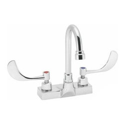 Speakman Commander SC-3084-LD Centerset Faucet - The Speakman Commander SC-3084-LD Centerset Faucet is a compact faucet set that won't waste space. Its goose-neck spout can be install with either a rigid base or a side-to-side swivel. A ceramic disc valve is incorporated into the design promoting a drip-free performance. Two wing-blade lever handles attach to the deck-plate allowing accurate control over both water pressure and temperature mix. Each component is made from solid brass and is protected from corrosion scratches and rust by a polished chrome finish. Product Specifications: Country of Origin: USA Drain Included: No Flow Rate: 1.5GPM Handle Style: Wrist Blade Overall Height: 8.0 inches Spout Reach: 3.75 inches Spout Height: 5.0 inches Swivel: Yes Valve Included: Yes Valve Type: Ceramic Disc About Speakman Company Founded in 1869 by brothers Joseph and Allen Speakman the Delaware-based Speakman Company provides plumbing solutions safety equipment and shower products for residential hotel and commercial markets. Now a leader in plumbing fittings and electronic faucets the company's product lines are renowned for their quality innovation and durability.