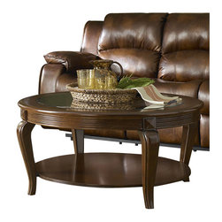 Homelegance - Homelegance Schiffer 3 Piece Coffee Table Set w/ Glass Insert - Reeded aprons flank the cherry finished Schiffer Collection in this unpretentious addition to your living room. Square medallions punctuate the tops of each subtly curved leg. Display shelving is featured on each piece, while the cocktail table's prominent glass insert makes a unique design statement.