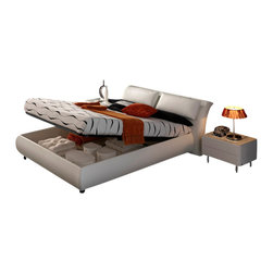 ESF Furniture - Meg White Leather Platform Bed - ESF Furniture, Queen - This modern Meg White Leather Platform Bed has a chic scale and attitude bringing with it the soft and relaxing comfort and unmatched quality.