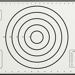 Silicone Baking Mat with Measurements - Multifunctional silicone baking mat is calibrated with concentric circles for uniform biscuits and cookies, pie and pizza crusts prior to oven baking up to 675 degrees. The baking mat makes any cookie sheet non-stick and doubles as a non-skid working surface. Additional weight, volume and conversion charts add convenient at-a-glance recipe translation. Can be cut or trimmed to fit any size pan, and rolled up for easy storage.