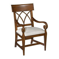 EuroLux Home - New Dining Chair Santa Fe Finish Wood Arm - Product Details