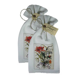 Golden Hill Studio - Floral Bouquet with Blue Ribbon Flour Sack Towel Set of 2 - This lovely Flour Sack Towel set is adorned with an 1800 botanical print.  Printed and Assembled in the USA!