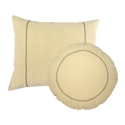 Store51 LLC - Natural Rectangle Round Pillows Brown Stitch Accent Cushions - FEATURES:
