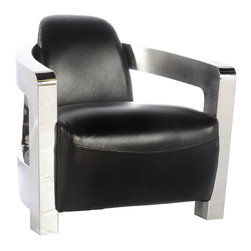 Vintage Classics-Lazzaro - Vintage Furniture Classics - Leather | Brute Leather Chair, Black - Talk about style... this contemporary chair has it all. The Brute chair has a  polished metal frame, with black leather upholstery. Waterfall seat design provides exceptional comfort . Perfect chair for hospitality, office, or home.