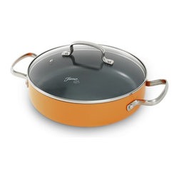 Fiesta - Fiesta 2.5 qt. Aluminum Covered Skillet - Tangerine Multicolor - 325225 - Shop for Skillets & Fry Pans from Hayneedle.com! Fun and festive the Fiesta 2.5 qt. Aluminum Covered Skillet - Tangerine will easily work its way into your kitchen repertoire. Get ready to create gourmet meals any night of the week with this generously sized pan featuring durable ceramic construction a tempered glass lid ergonomic stay-cool handles and non-stick coating for easy clean-up. Perfect with Fiesta dinnerware.About FiestaAmerica's favorite dinnerware line Fiesta was introduced by the Homer Laughlin China Company in 1936. Available in plenty of bright vibrant colors and unique shapes Fiesta dinnerware and serveware features Art Deco-style concentric rings. Made from durable restaurant-quality ceramic and finished in lead- and cadmium-free glazes this line of kitchenware is easy to mix and match to create your own custom set. Best of all each piece is microwave- and oven-safe and dishwasher-safe for easy cleanup.