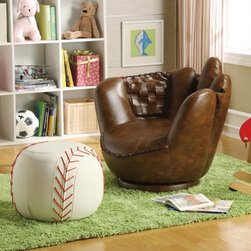 Mark Baseball Glove Chair - Nice, Baseball Glove Chair and Ottoman have your child relax ion this comfortable chair you will enjoy.