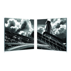 """Wholesale Interiors - Touch the Clouds Mounted Photography Print Diptych - One of the most easily recognized and photographed structures in the world, the Eiffel Tower appears to reach for the stars in this striking black-and-white photo. Mounted to two MDF wood frames, the iconic image is printed in two parts on waterproof vinyl canvas for display adjacent to one another (a diptych). Printed, manufactured, and fully assembled in China, the Touch the Clouds Modern Wall Art Set is ready to hang but does not include hardware for hanging on the wall of your choice. To clean, wipe with a dry cloth. Product dimension: 19.68""""W x 1""""D x 19.68""""H."""