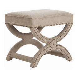 Arteriors Home - Arteriors Home Tennyson Natural Linen Stool with Brass Studs - Arteriors Home 21 - Give your vanity area a bit of an edge with this upholstered, linen fabric stool with nickel-stud accents. The curvy X-bench design will make a shapely statement for your bedroom or sitting room.