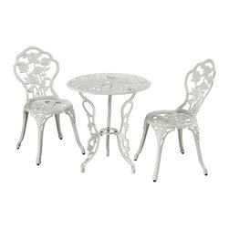 Sterling Industries - Sterling Industries 134-002/S3 Outdoor Bistro Set In White - Table (1), Chair (2)
