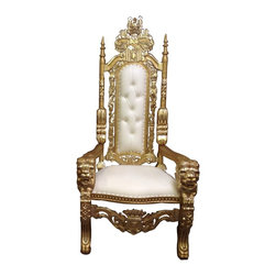 """Throne-King Chair, Gold/White - These LOUIS """"IV"""" AND """"V"""" throne chairs are hand carved from solid mahogany. Finished in satin brown and gold and silver leaf, upholstered with many different colors of vinyl with antiqued brass tacks. These """"King"""" chairs are 6' tall."""