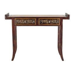 Safavieh - Safavieh Kasey Console Table X-A5204HMA - Asian styling meets Arts & Crafts in the Kasey console. The striking inverted top ends, bent legs and baroque drawer carvings inject this console with a dynamic, eye-catching vibe. Minor assembly required.