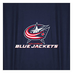 Sports Coverage - NHL Columbus Blue Jackets Hockey Locker Room Shower Curtain - Features: