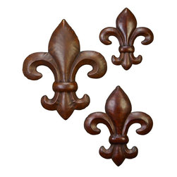 Benzara - Metal Wall Decor Unique Wall Dressing - Set of 3 - Metal Wall Decor S/3 is an excellent anytime low priced wall decor upgrade option that is in high demand as modern age low budget home interior decoration item. It is beautifully sculptured and designed by the experienced artists.; Color: Brown; Set/3 Fleur Li Dis Metal Wall Decor; Beautifully designed; Can be hanged anywhere; Easy to clean; Material: Rust free premium grade metal alloy