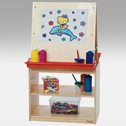 Wood Designs Childrens Art Center Easel for Two - The Wood Designs Art Center for Two provides the fun of co-creation and at the same time gives each child privacy so he or she can focus on the work. When little ones work together at a double-sided easel on artistic projects the sparks of inspiration fly. They can encourage each other compare designs and challenge one another to create. The deep mounted trays hold paints crayons and brushes. They are wide enough to accommodate jars and containers. The sturdiness of the easel comes from its base: a wide real-wood two-shelf base perfect for storage of larger containers and paper. Stock up well because this easel is destined for hours of artistic fun. About Wood Designs Healthy Early Learning FurnitureWith more than half a decade of experience manufacturing for the school and early learning industries Denny and Debbie Gosney began Wood Designs to create youth furniture that enriches the development of young children's lives. The company uses the finest quality materials and every product is inspected before it arrives in the hands of its young customers. Wood Designs' highly skilled craftspeople use their experience to make premium safe quality furniture designed with kids in mind. In 2008 Wood Designs introduced a new line of furniture that offers the safest strongest most environmentally friendly products available for classroom use. Safety features include recessed backs and extra depth for stability rounded edges Tip-Me-Not doors that go all the way to the floor so it's more difficult for children to pull over the furniture and Pinch-Me-Not continuous hinges that help prevent pinched fingers. All Wood Designs furniture receives a triple coat of Healthy Kids Tuff-Gloss™ the company's GREENGUARD certified UV finish - tough durable stain and chemical resistant and easy to clean. Furniture is constructed with a strong (and beautiful) mortise glue and steel pin assembly method. Wood Designs assembly is many times stronger than furniture assembled with pencil-thin dowels and all pieces include a lifetime warranty.