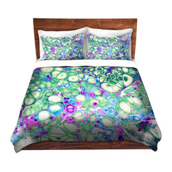 DiaNoche Designs - Duvet Cover Microfiber - Razzle Dazzle - Super lightweight and extremely soft Premium Microfiber Duvet Cover in sizes Twin, Queen, King.  This duvet is designed to wash upon arrival for maximum softness.   Each duvet starts by looming the fabric and cutting to the size ordered.  The Image is printed and your Duvet Cover is meticulously sewn together with ties in each corner and a hidden zip closure.  All in the USA!!  Poly top with a Cotton Poly underside.  Dye Sublimation printing permanently adheres the ink to the material for long life and durability. Printed top, cream colored bottom, Machine Washable, Product may vary slightly from image.