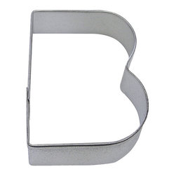 """RM - Letter B 3 In.  Alb - Letter B cookie cutter, made of sturdy tin, Size 3"""" tall, Depth 7/8"""", color: silver"""
