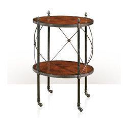 Theodore Alexander - Theodore Alexander Effortless Lamp Table 5005-074 - oval laurel veneer and verdigris brass two tier lamp table, the two oval brass bound laurel tiers between tubular supports and bowed brass 'X' stretchers, on castors. The original Empire.