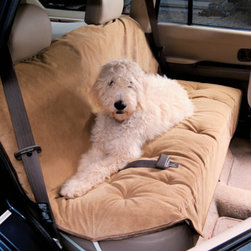 "Grandin Road - Luxury Car Seat Covers for Pets - Made from a microvelvet fabric that repels pet hair, dirt, and moisture. Seat cushion is filled with 2"" of Dacron ® fiber for extra comfort and protection. Elastic straps and metal clips ensure a secure fit. When they get dirty, simply toss them in the washer. These Luxury Car Seat Covers are attractive, yet ruggedly durable. Loaded with pet- and auto-friendly features:. Seat cushion is filled with 2"" of Dacron fiber for extra comfort and protection. . . Imported."