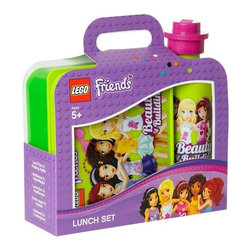 LEGO - LEGO Friends Lunch Set, Purple/Lime Green - Make lunchtime a funtime with our Lego Friends Lunch Set. Each set includes a sturdy sandwich box and drink bottle, decorated with graphics of 5 famous friends of Heartlake City. The bottle includes a detachable cup at bottom with an oversized Lego brick-shaped cap.