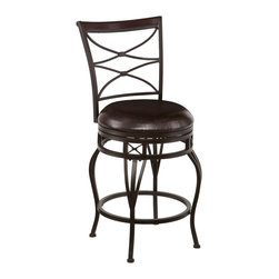 SEI - Kingsgate Swivel Counter Stool - Enrich your home with stylish convenience. The intricate details, intersected arcs, and curved legs of this counter stool yield a beautiful, timeless appearance. A powder-coated, dark champagne finish and durable steel frame deliver lasting quality. It features counter height seating, a cozy foam seat covered in rich dark brown vinyl, and a backrest accent in a rich walnut finish wood. A full 360 degree swivel and footrest ring provide comfort and ease. The detailed, curvaceous form and attractive finish coordinate with traditional to contemporary decor styles. Ideal for the kitchen, breakfast nook, island, or dining area.